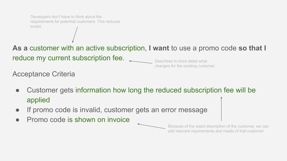 Good user story example